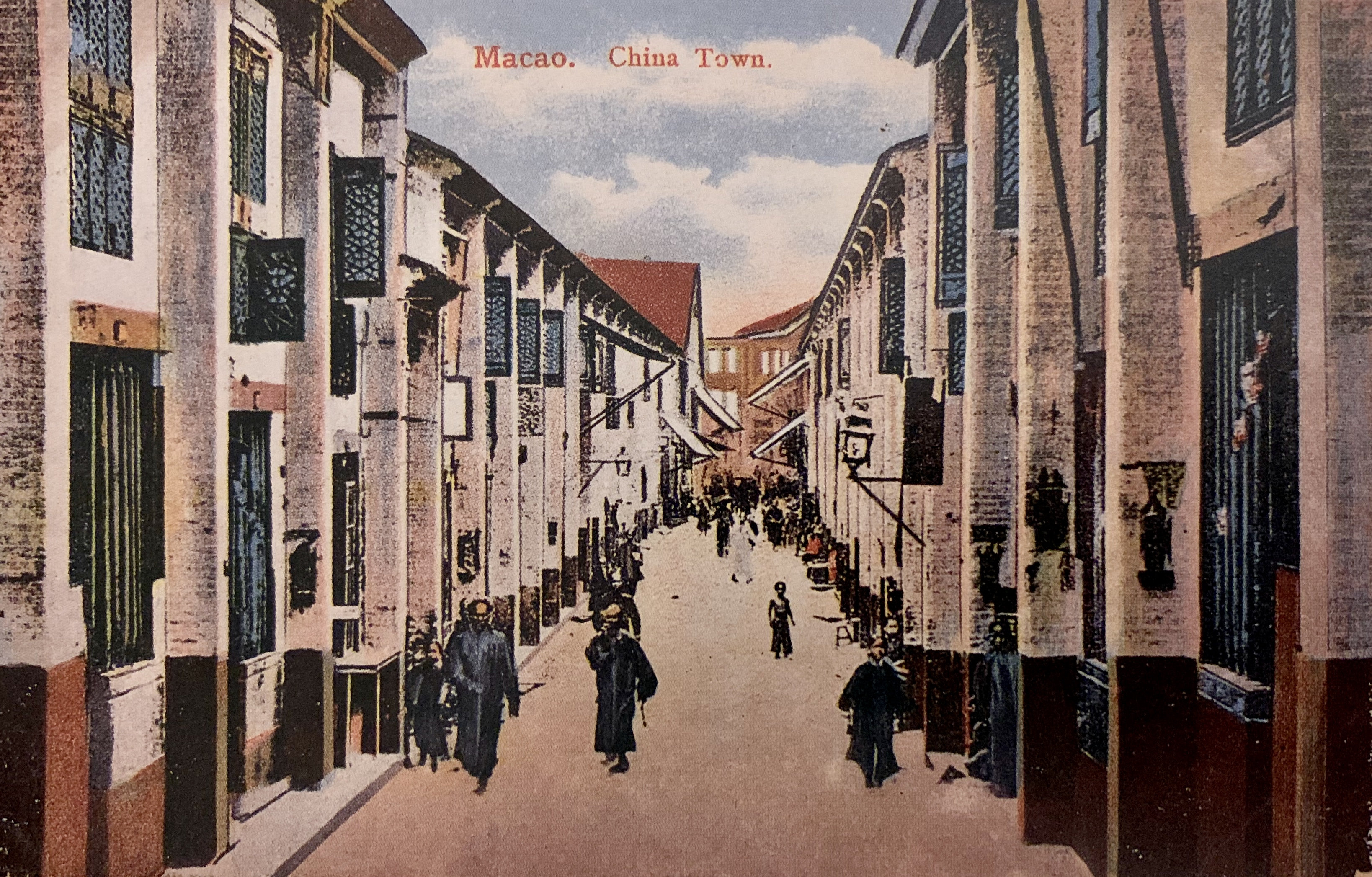 Rua da Felicidade circa 1900 source The Past of Macau Collection of Postcards by Ho Weng Hong