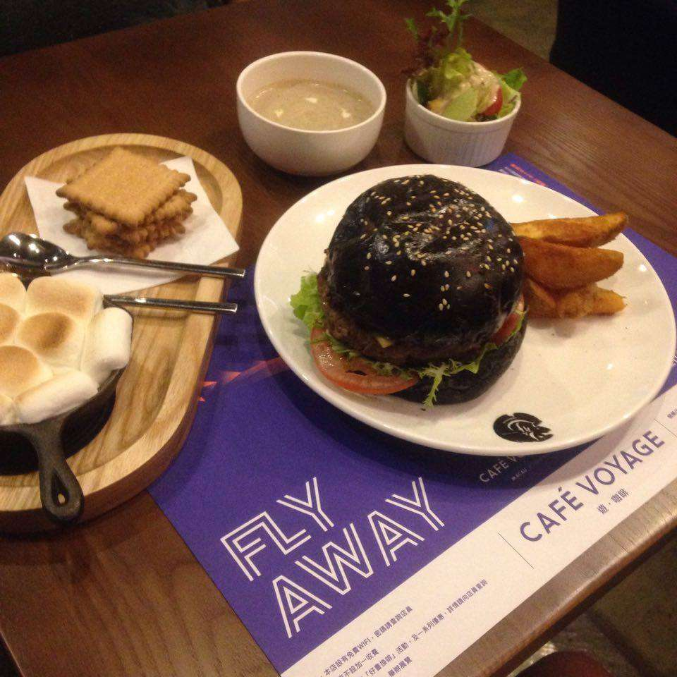 Homemade squid ink cheese & beef burger
