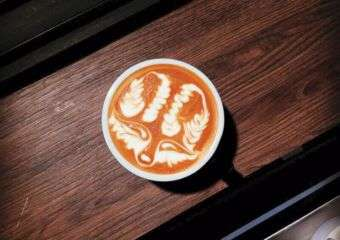 Latte art with a wolf