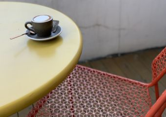 quarter square coffee on table exterior