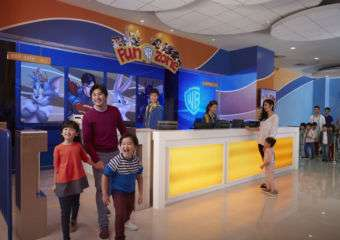Family having fun with their kids in Fun Zone