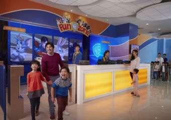 Family having fun with their kids in Fun Zone