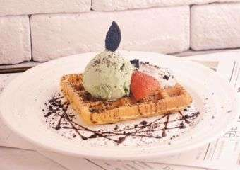 Waffle with ice cream and chocolate