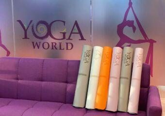 Yoga World Mats on the Sofa