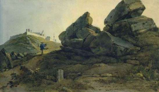 George Chinnery Painting – Tap Seac (Guia Hill on the back)