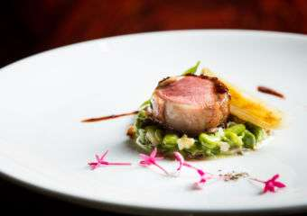 Roasted lamb saddle with fava bean, foie gras and shallot jus 烤羊脊肉伴蠶豆、鴨肝配小紅蔥汁