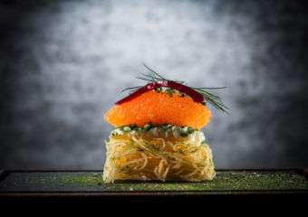 Potato cake raraka kalix vendace roe, sour cream and dill