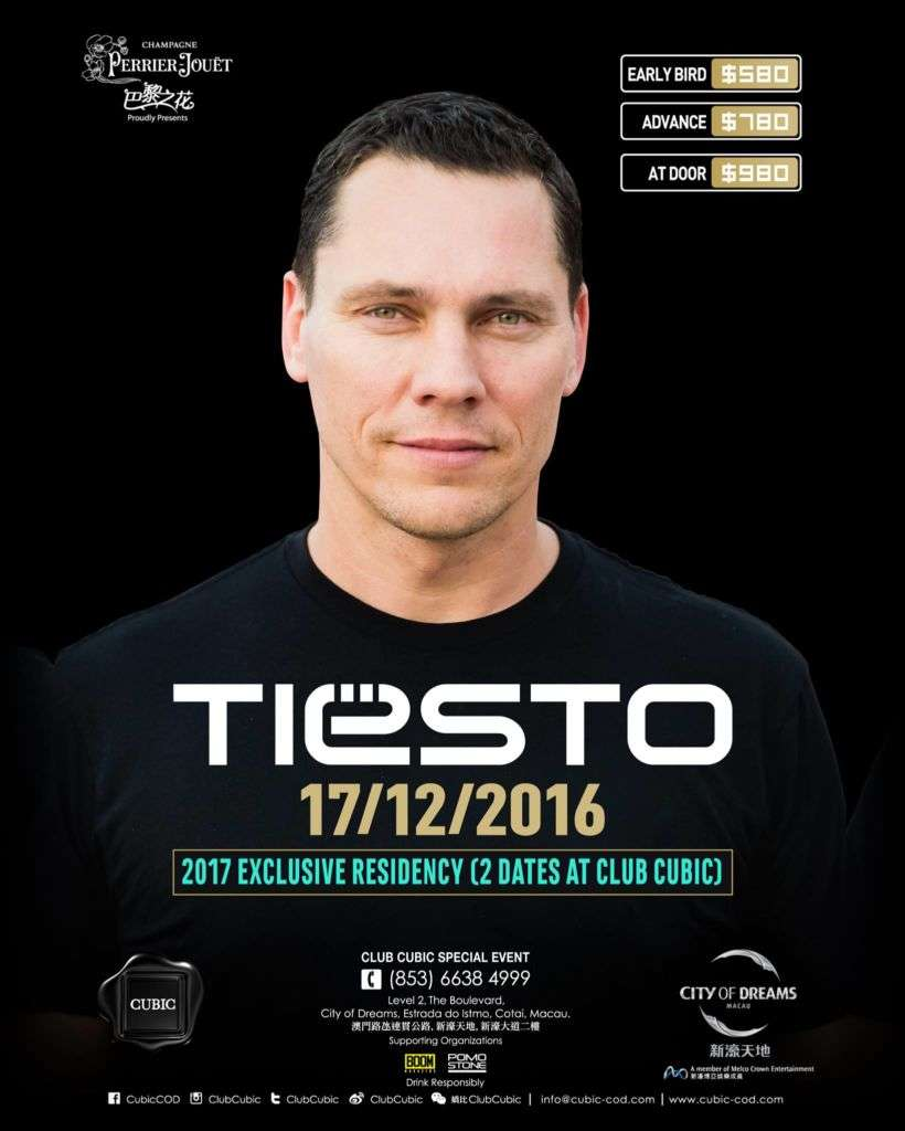 Poster for DJ Tiesto at Club Cubic in Macau