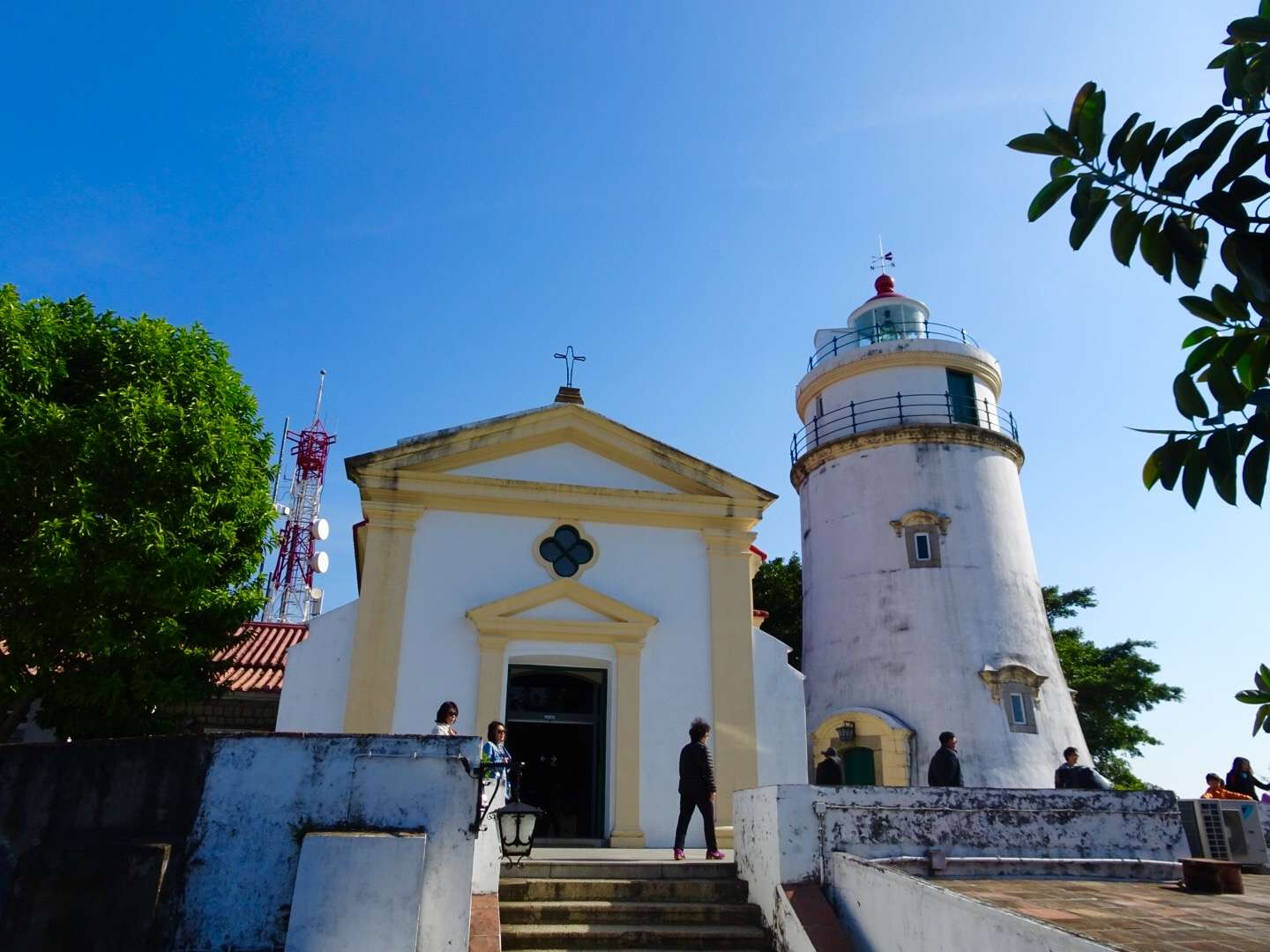 A chapel and a lighthouse on top of Guia Hill