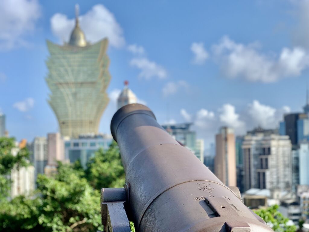 Mount Fortress Canon Pointing to Grand Lisboa Macau Lifestyle
