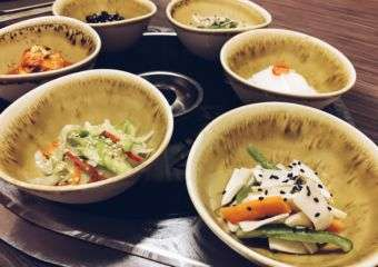 Korean dishes on a table.