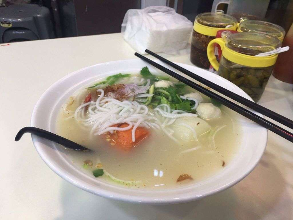 Close up shot of Vietnamese Pho noodles