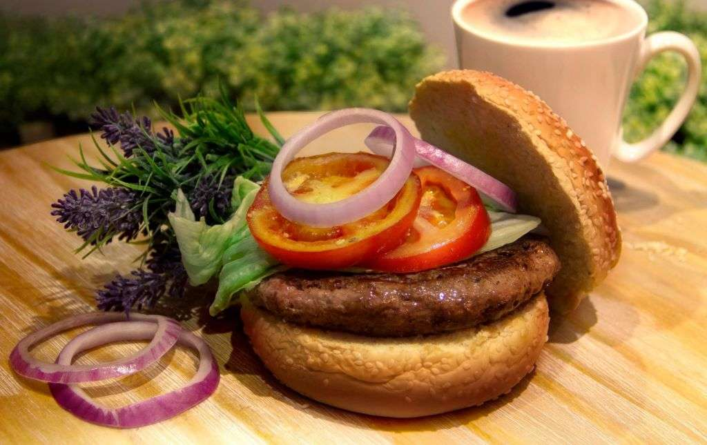 Classic British beef burger with hand ground beef