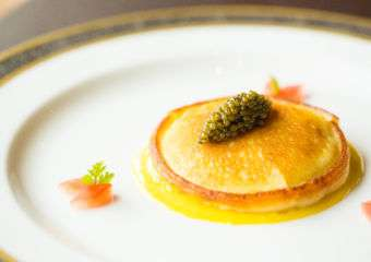 Crepe Parmentiere with Salmon and Caviar, Saffron Cream Sauce, The kitchen grand lisboa