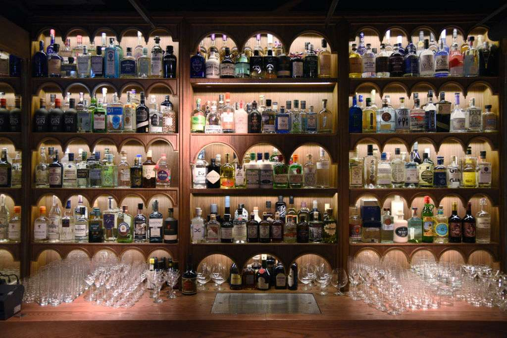 Display of bar shelves at Dr. Fern's Gin Parlour in Hong Kong