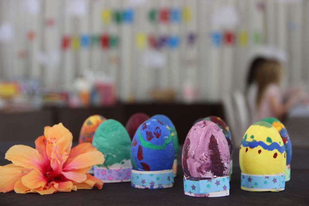 Painted Easter eggs at Coloane Resort Easter family activity