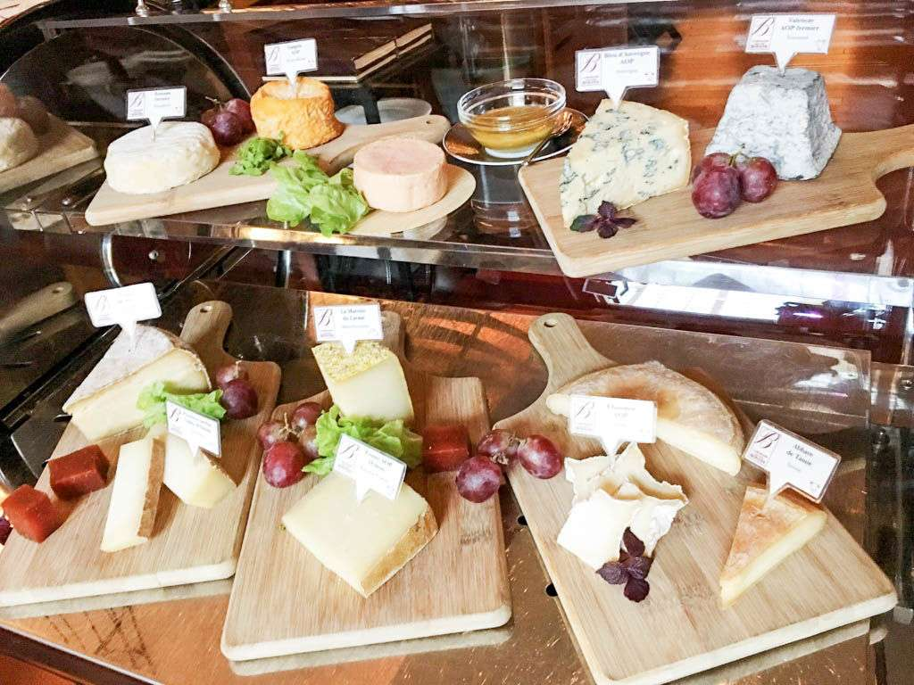 The cheese board at the French restaurant Aux Beaux Arts