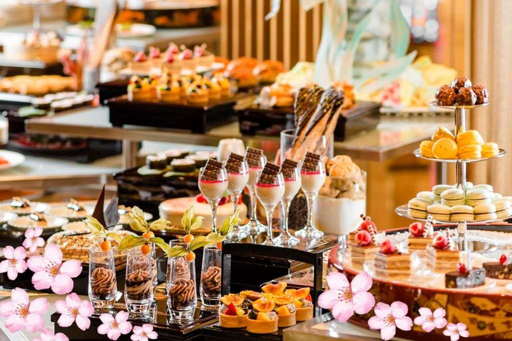 Sweets and other delicacies at Sakura-themed High Tea Buffet