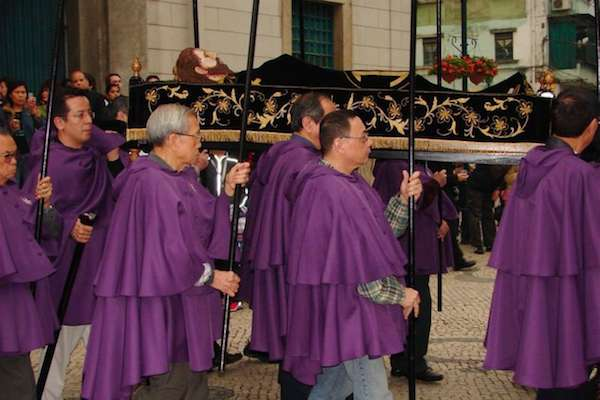 Easter Procession through Senado Square in Macau.