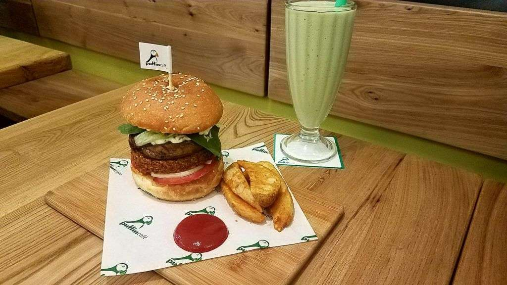 Puffin Vegan Portobello Burger and Avocado Smoothie