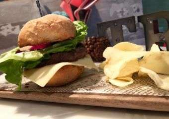 Wagyu beef burger and crisps