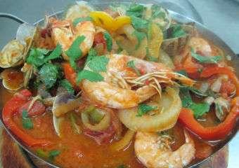 A shrimp dish at Miramar Portuguese restaurant in Coloane, Macau.