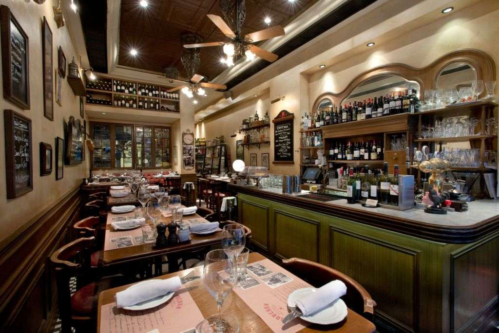 Dining room at Bouchon Bistro Francais.
