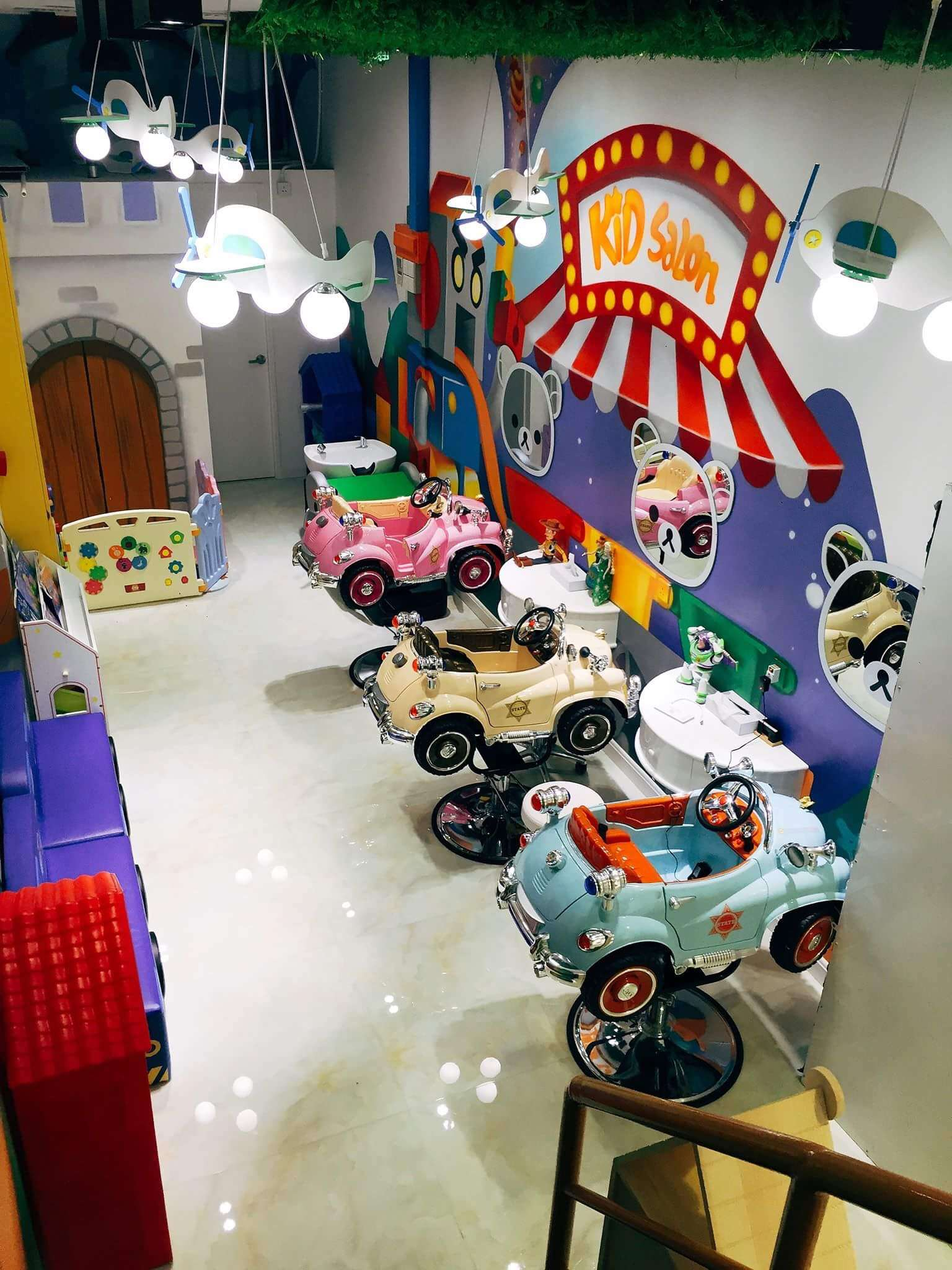Hair salon for kids with toy cars for chairs