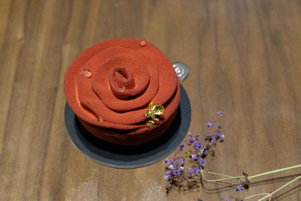 """Rosy"" cake from Rocca Patisserie in Macau."