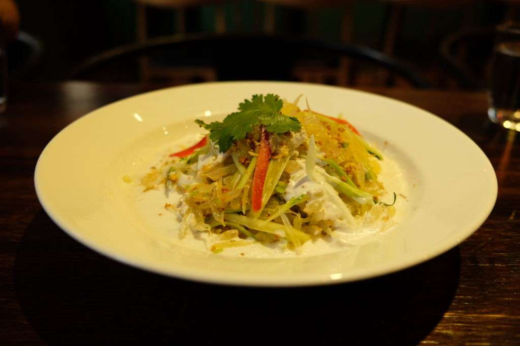 Grapefruit salad with shredded chicken at Naughty Nuri restaurant in Macau.