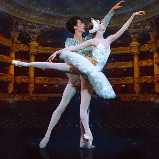 Male and female ballet dancers on stage together.