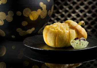 Ritz Carlton – Lai Heen Baked Crispy Fried Rice with Seafood in Baby Pumpkin
