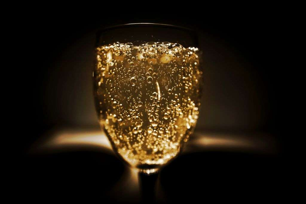 A glass of bubbling Champagne