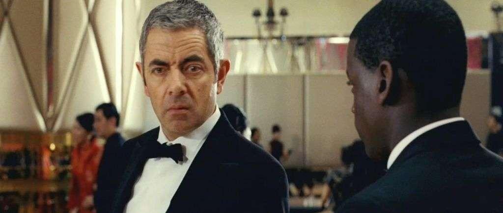 Rowan Atkinson wearing tuxedo in scene from Johnny English Reborn film