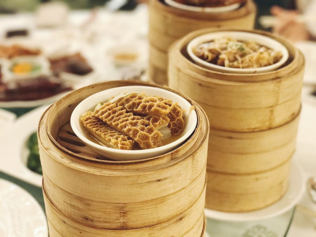 Close up of dimsum on a table