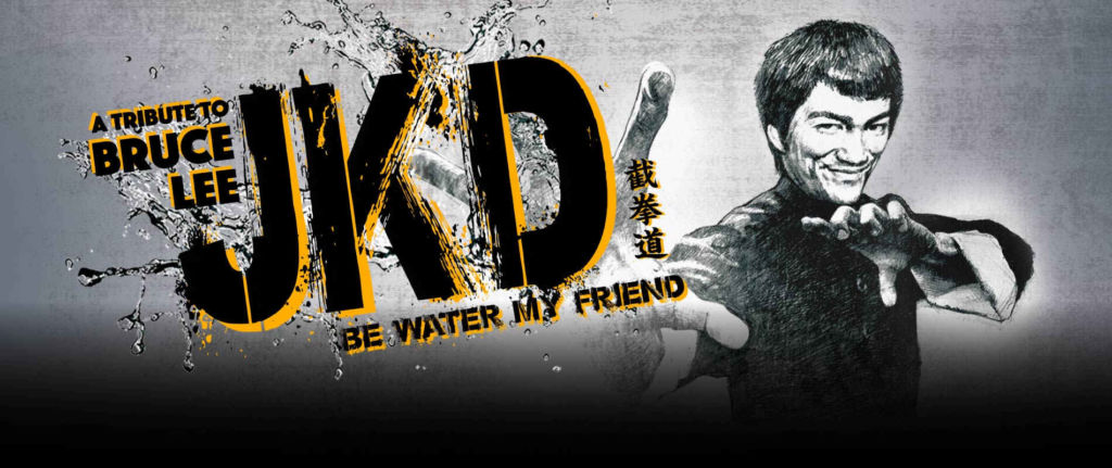 Poster for Be Water My Friend Bruce Lee tribute, with picture of Bruce Lee.