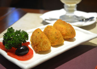 A dish of three balcahau balls at Alves Cafe in Macau
