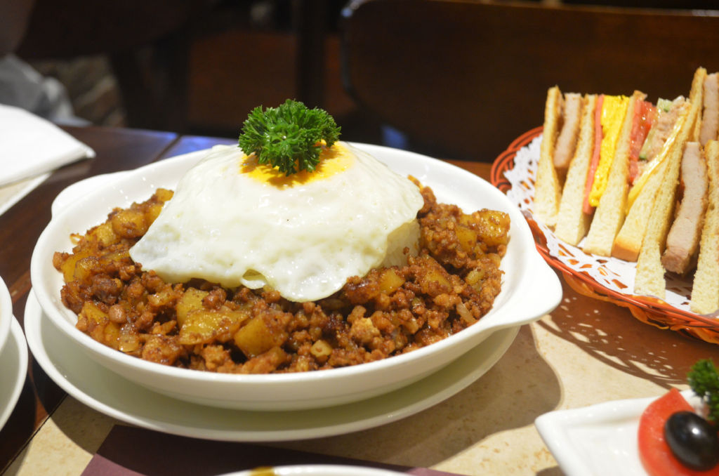 A traditional Macanese minchy dish at Alves Cafe in Macau