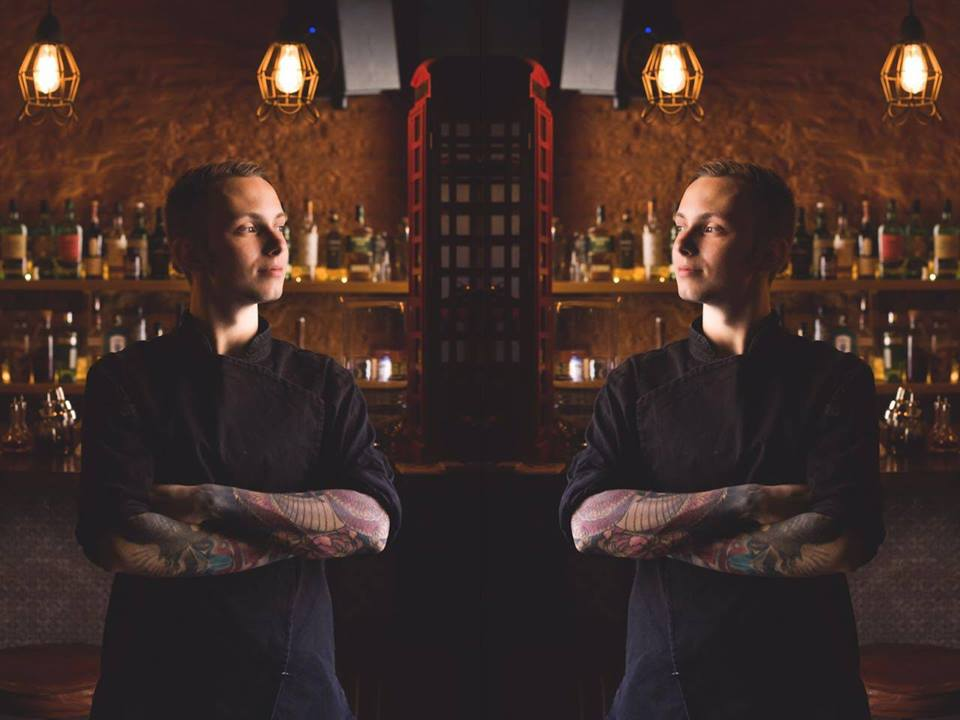 A mirror image of one of the Russia bartenders in Macau