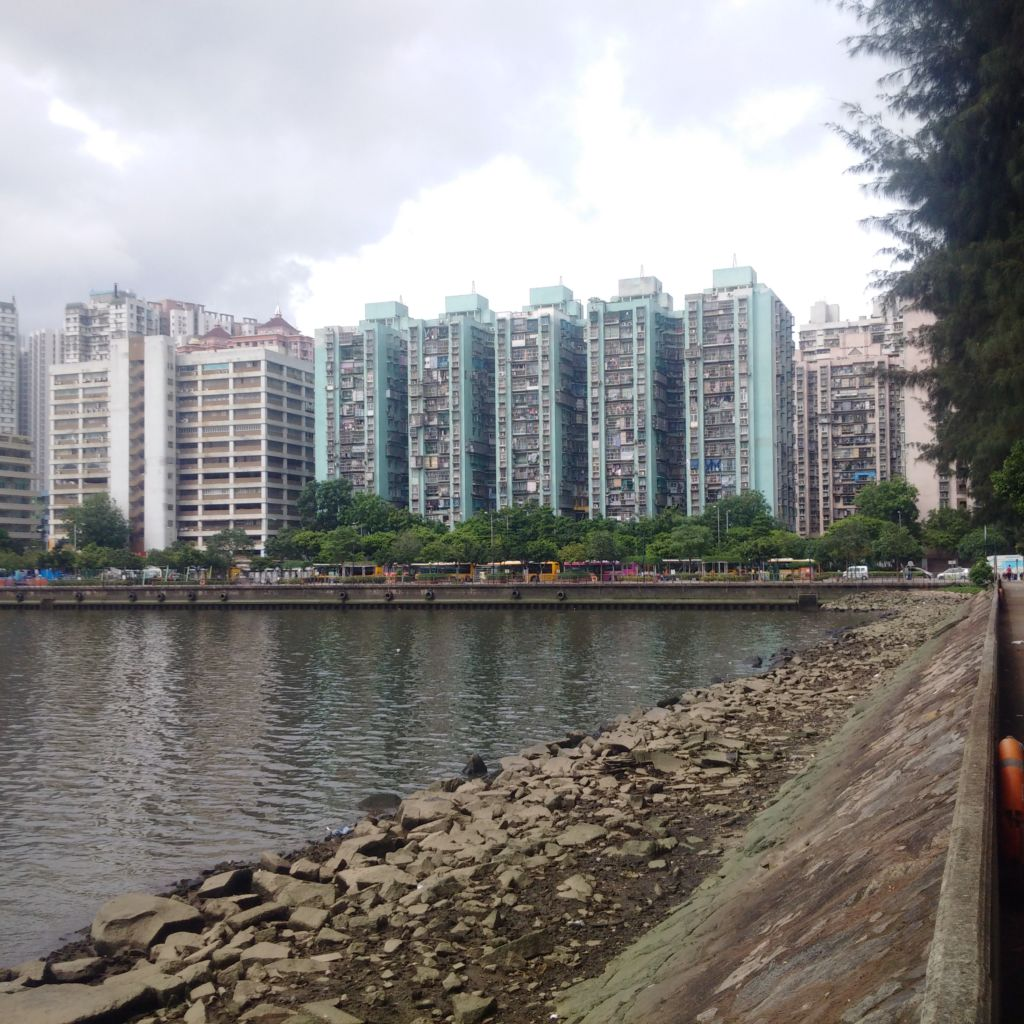 Harbor basin area of Fai Chi Kei district in Macau, with high rise buildings in background