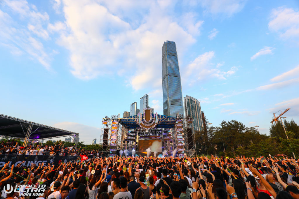 Crowd gathered in front of stage at Road to Ultra Hong Kong music festival in West Kowloon.