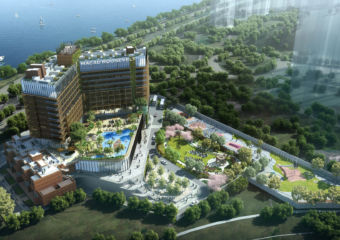 Bird's eye view of the Macau Roosevelt hotel property.