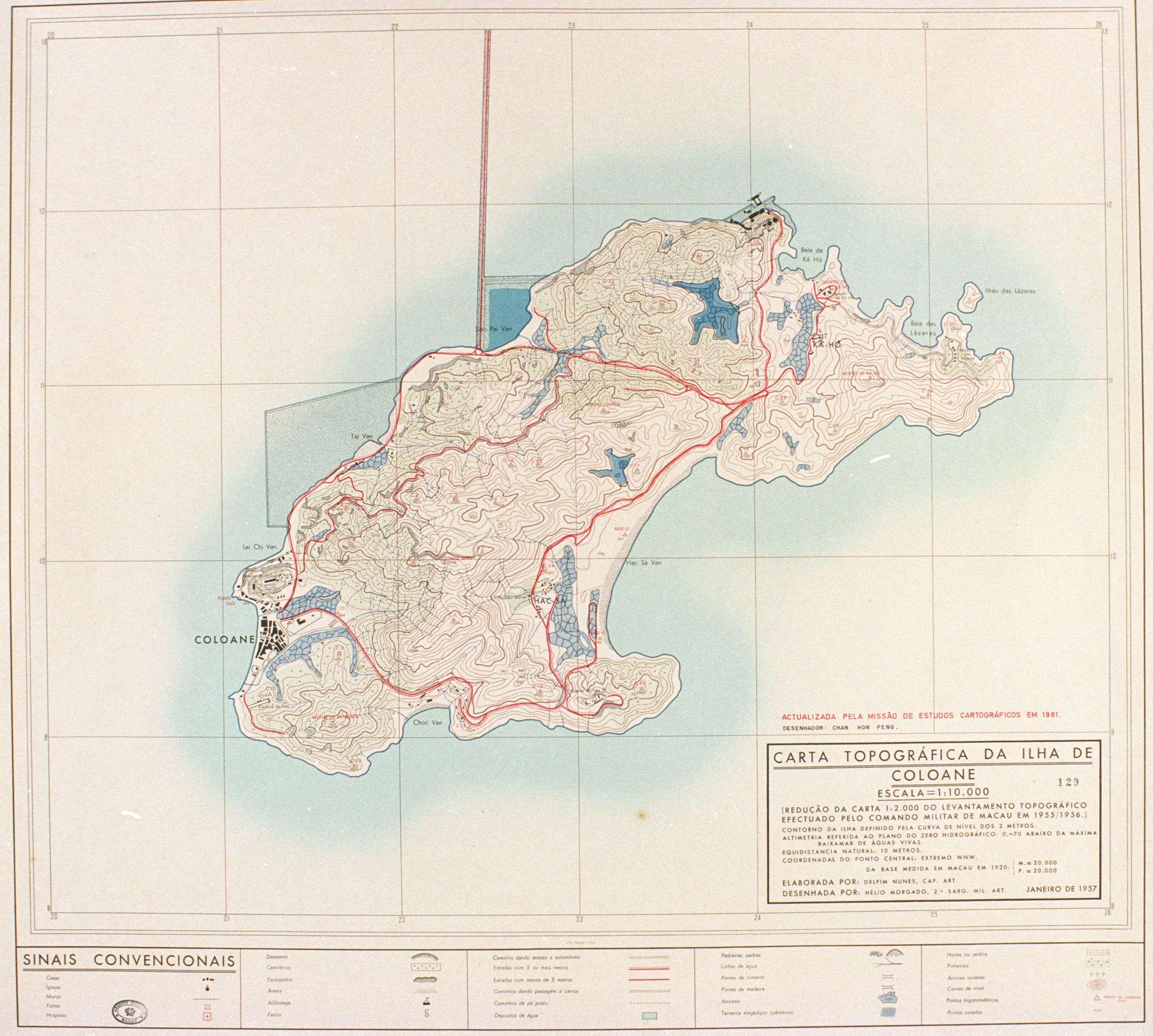 A map of Coloane from 1957