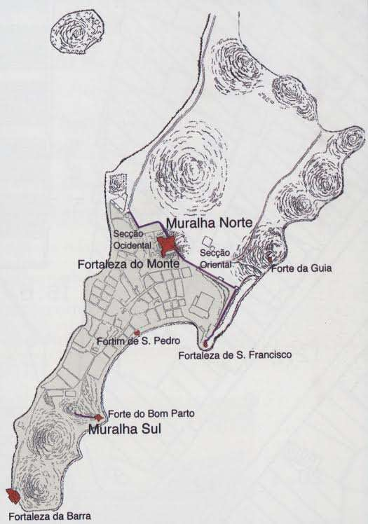 A map showing the early wall fortifications in Macau