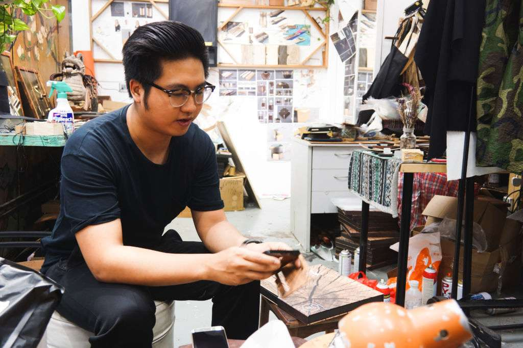 Hyle Design founder Sio Kai Dong holds camera part