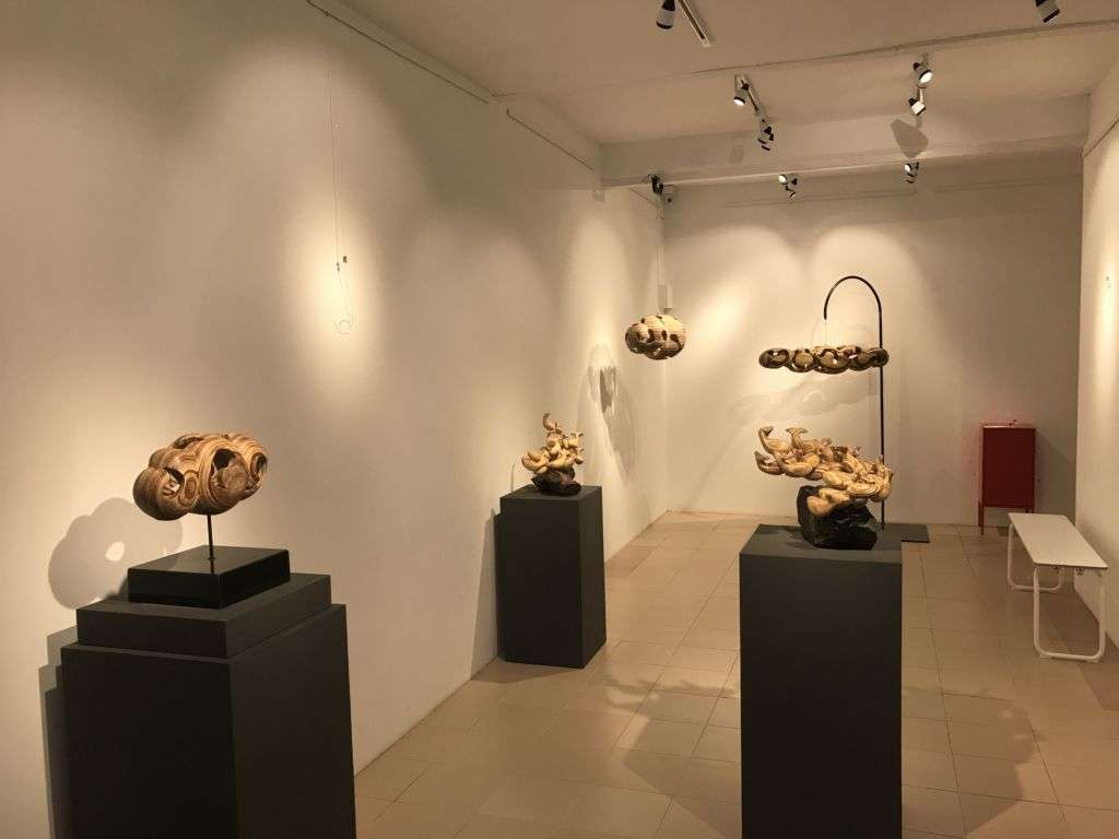 Several of Tong Chong's works on display in gallery in Taipa, Macau.