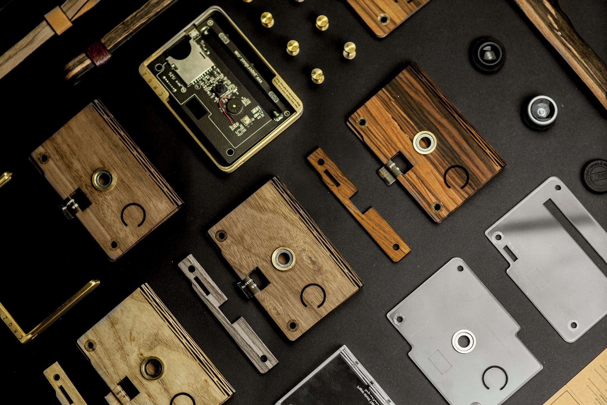 Various wood and metal parts for DIY wooden camera Hyle Design