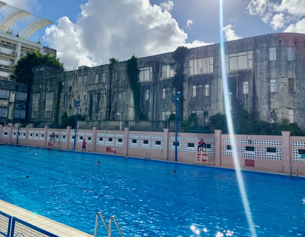 Tap Seac Swimming Pool Wide View from Below Sunny Day Macau Lifestyle