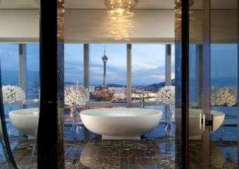 View of bathtub in luxury suite at Mandarin Oriental Macau