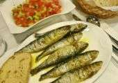 Dish of sardines from A Baia Portuguese restaurant in Macau.